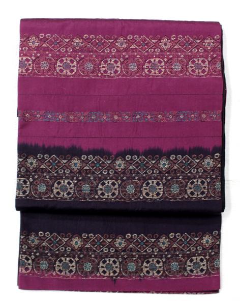 お洒落用紫黒しじら織袋帯