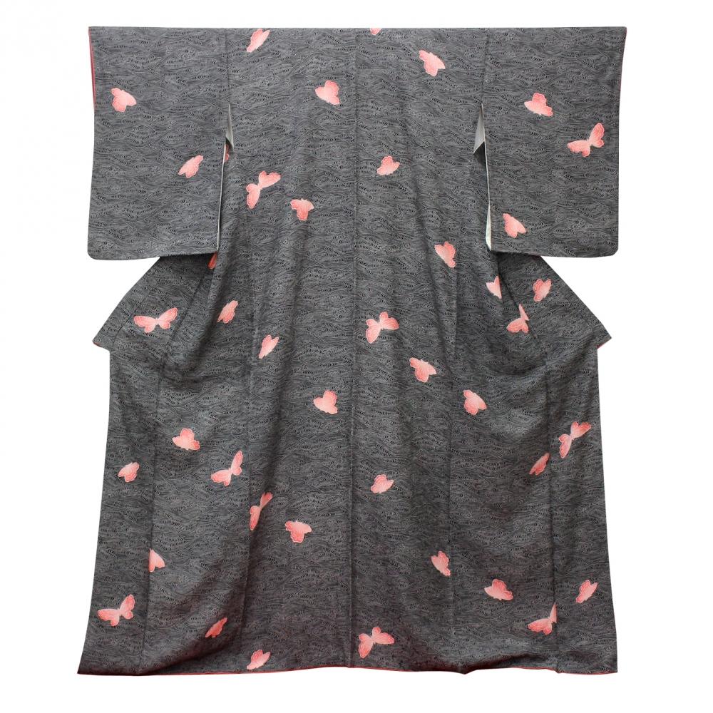 3サメ小紋着物袷絹