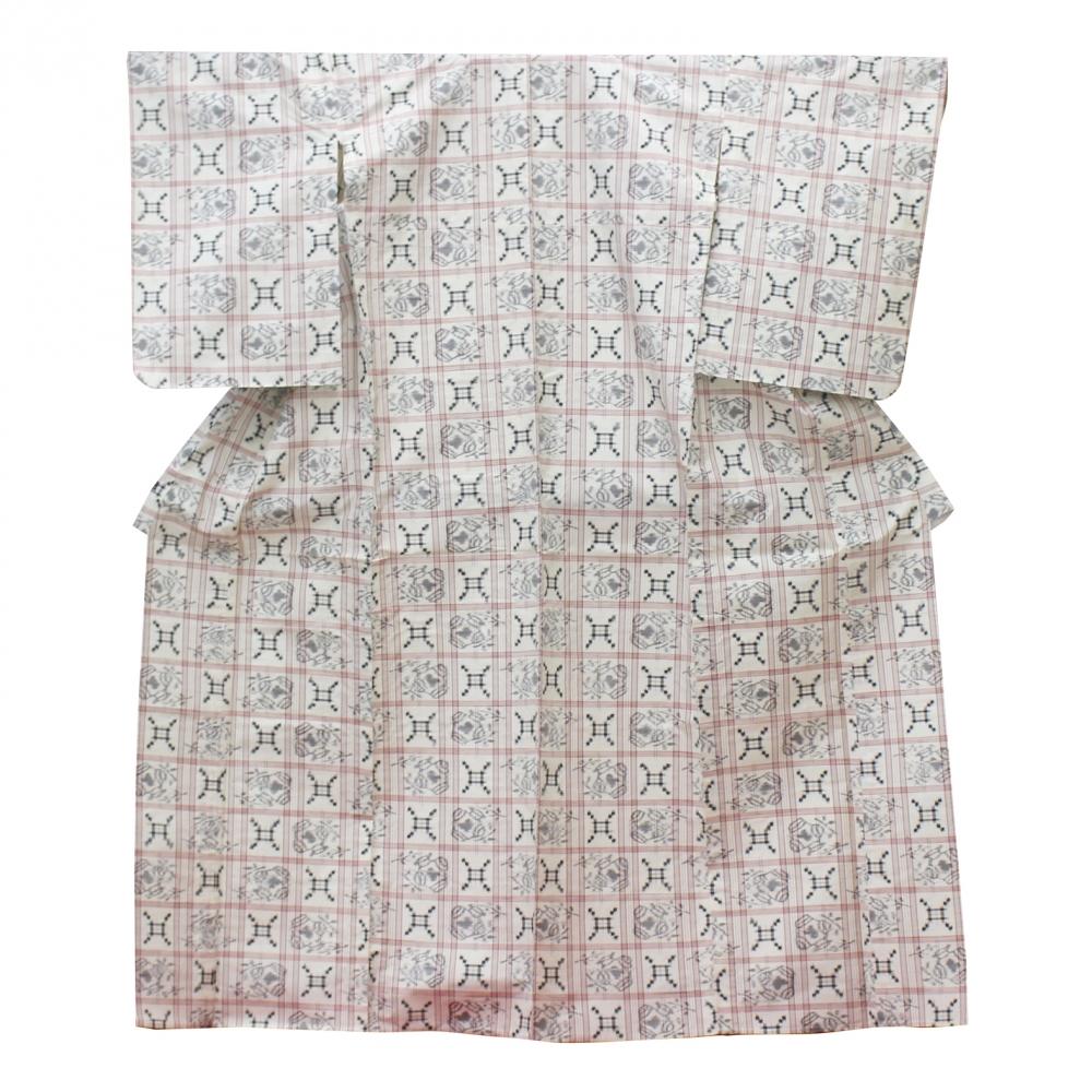 4米沢紬絣着物単衣